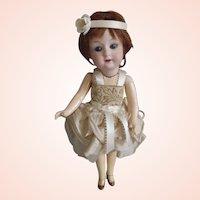 "9"" Gebruder Heubach 8192 Antique Bisque Doll in original Flapper costume"