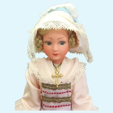 French c1930's Composition Poupee in Original Traditional Costume of Normandy by Poupees Cadette in Original box