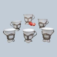 Antique American Sterling Silver by Reed&Barton 6 Demitasse cups w/Belleek inserts