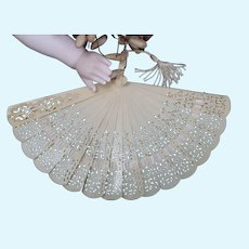 Rare c1900's French fashion Poupee celluloid filigree hand fan
