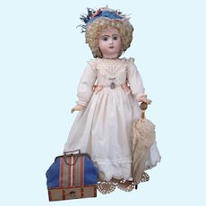 "27"" size 12 French Bisque closed mouth TETE JUMEAU in Antique dress & Trousseau"