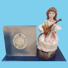 "French Musical Mechanical doll automaton ""Lady with Mandolin"" by Au Nain Bleu"