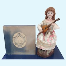 "French Musical Mechanical doll automaton ""Lady with Mandolin"" by Au Nain Bleu"