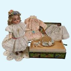 "Adorable 7"" Simon & Halbig Kammer Reinhardt Bisque K&R Star Doll & Trousseau"