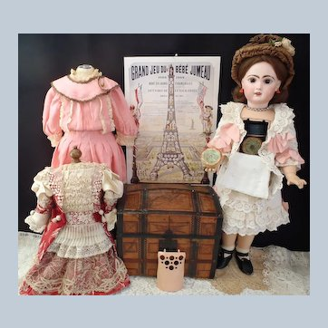 Rare Bébé Jumeau Lioretgraphe Doll with Trousseau Trunk & Working Phonograph