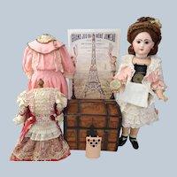 Rare Bébé Jumeau Lioretgraphe Doll with Trousseau Trunk & Working Phonograph