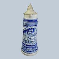 """Grand size Antique German Westerwald Salt Glazed Stoneware Pitcher Stein 14.5"""" tall 2 Liters"""
