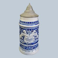Large Antique German Westerwald Salt Glazed Stoneware Stein 1 L