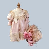 "Rare 19th. Century French Bebe Dress & Wire Bonnet for 22-23"" doll"