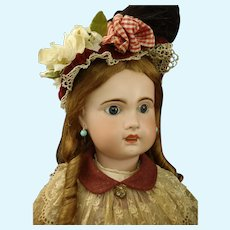 """33"""" Mademoiselle Bebe Jumeau Grand size 15 French bisque Doll marked body & Trousseau"""