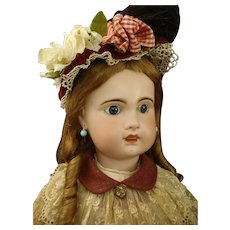 """33"""" Mademoiselle Bebe Jumeau Grand sized 15 French bisque Doll marked body & Trousseau"""