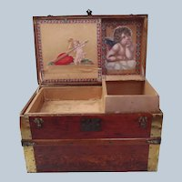 Antique French Fashion Huret Rohmer Jumeau Wood Doll Trunk with Tray