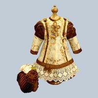 Marvelous French Bebe Silk Costume with lovely Bonnet