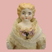 "Rare Blonde Molded Hair Antique ABG PARIAN BISQUE Shoulder head Doll by Alt Beck Gottschalk 11.5""c1880 Germany"
