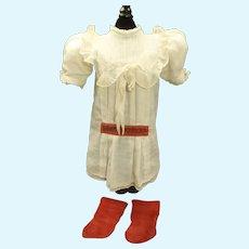 Factory Original Chemise from Maison Jumeau SZ 9-10 & Red Jumeau socks