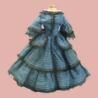 """Lovely Antique French Blue Taffeta Silk Poupee Costume for 18"""" doll"""