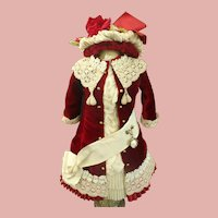 Pretty French Bebe Silk Velvet Costume with wire Bonnet