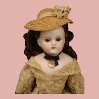 """Outstanding Antique bisque shoulder-plate 15"""" Pouting Closed Mouth Kestner Fashion Doll"""
