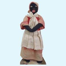 "Antique late 19-th c American Black STOCKINETTE Folk Doll 18"""