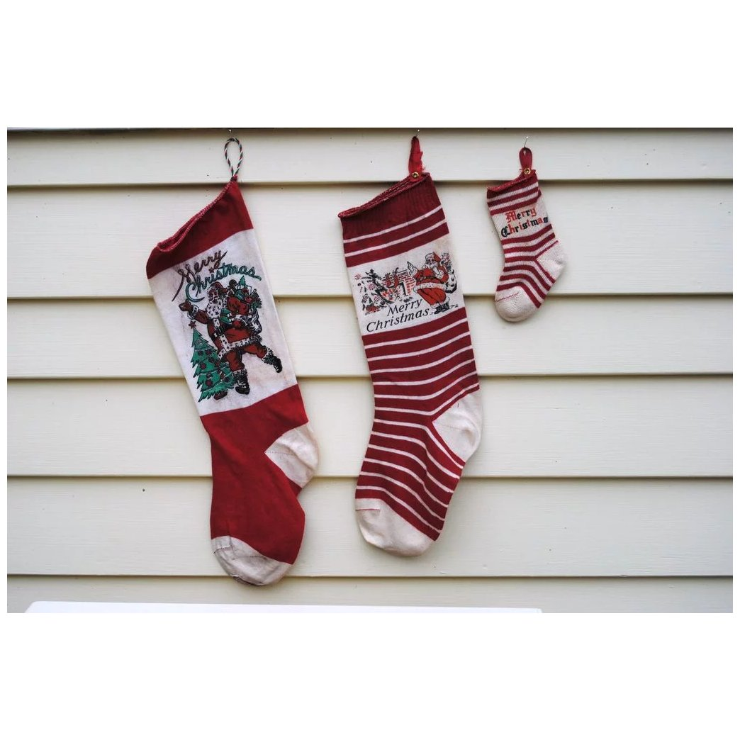 Vintage Christmas Stockings.3 Vintage Christmas Stockings Including A Mini For Your Doll