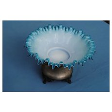 Beautiful Cased Glass Large Ruffled Dish On Metal Stand