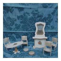 8 Piece Parlor Set Of Gottschalk Dollhouse Furniture Found In France