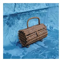 19th c French Bebe Or French Fashion Basket/Purse/Sac Du Voyage