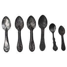 "6 Tin Advertising Spoons...one marked ""Crisco""."
