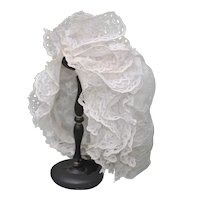 Outstanding 19th c. French Bonnet For A Large Doll...Lace and Hand Embroidery