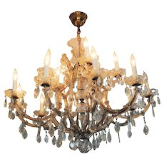 Antique Large 10 Arm French Maria Theresa Chandelier