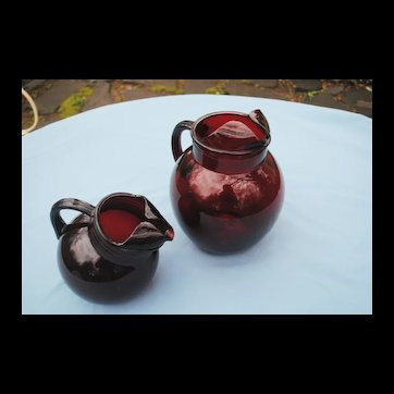 2 Anchor Hocking Ruby Red Roly Poly Pitchers
