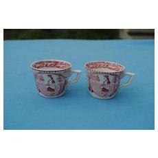 2 Staffordshire Little Mae Child's Cups, Circa 1880