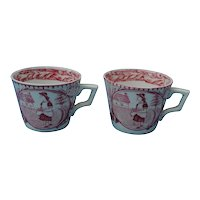 2 Staffordshire Little Mae Child's Cups, Circa 1880