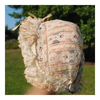 Beautiful Ecru Lace Bonnet With Beige Silk Ribbons...Circa 1890