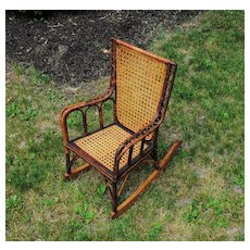 Charming 19th c Hand Caned Rocking Chair For Your Favorite Big Doll