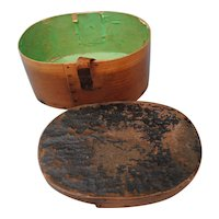 Miniature French Wood Hatbox Circa 1860