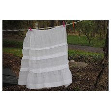 19th c. Cotton Batiste Partial Skirt for Doll Dressing