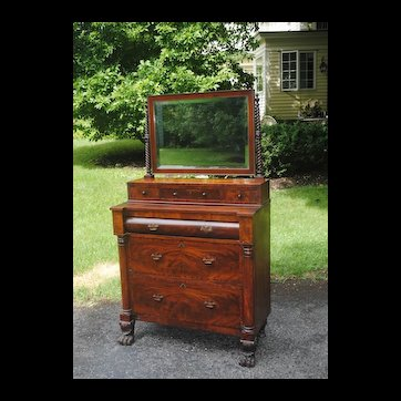 Circa 1840 American Crotch Mahogany Dresser With Mirror and Paw Feet...Nice Small Size