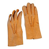 19th c. French Fashion Gloves, Small and Leather