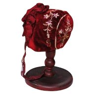 Victorian Child's Bonnet In Red Velvet With Embroidery