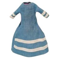 19thc. Blue Cotton Dress For A Slim Bodied Doll