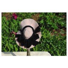 Pretty Pink Felt With Black Velvet Ribbon Hat, Circa 1890-1910