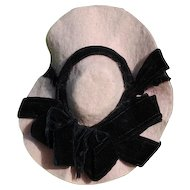Pretty Pink Felt With Black Velvet Ribbon Hat, Circa 1890-1910