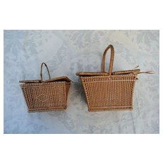 2 French Miniature Picnic Baskets For Bebe Or Large Fashion