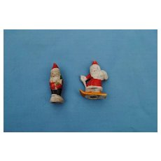 2 Early 20th c. Japanese Christmas Santa Figurines