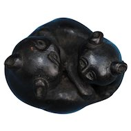 Japanese bronze of 2 entwined panda bears