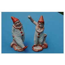 Delightful French Bisque Clown Figures, Circa 1890