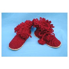 Charming Hand Knitted Wool Booties, Early 20th c.
