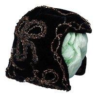 19thc French Velvet Bonnet With Metallic Embroidery
