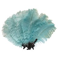 Gorgeous Big Blue Ostrich Feather Fan